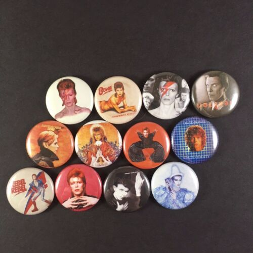 "David Bowie 1/"" PIN BUTTON lot Ziggy Stardust Major Tom Thin White Duke"