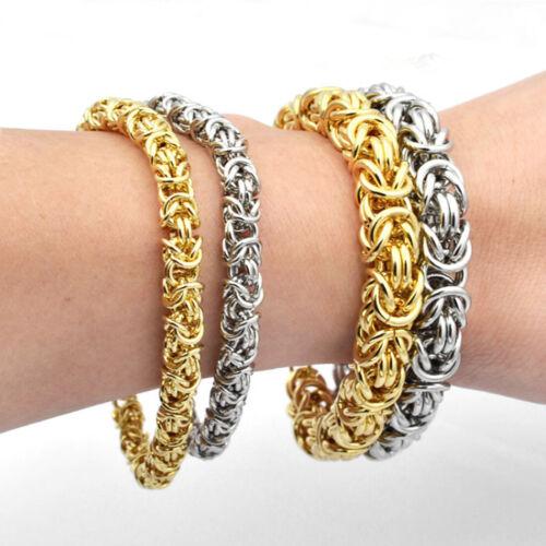 "6//8//10mm Trendy Byzantine Chain Men//Women Bracelet Stainless Steel Bangle 7-11/"""