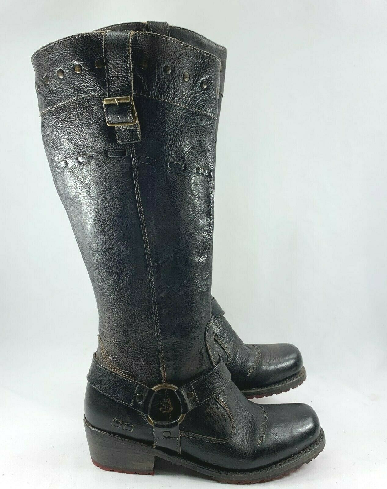 Bed Stu Women's Dualistic Tall Leather Boots Black Rustic Rust Size 7