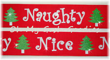 1.5 GLITTER NAUGHTY OR NICE CHRISTMAS TREE GROSGRAIN RIBBON HAIRBOW BOW