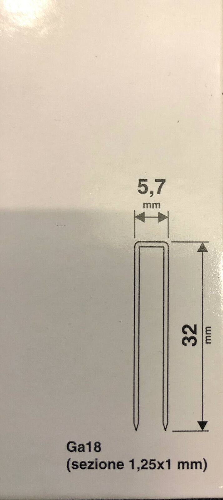 VALEX 1000PZ PUNTI PUNTATRICE 5,7x19MM SPARAPUNTI GA18 1,25x1MM PINZATRICE