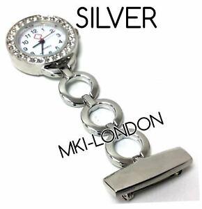 Stainless-Steel-Nurse-Beautician-Crystal-Diamante-Quartz-Fob-Pocket-Watch-UK