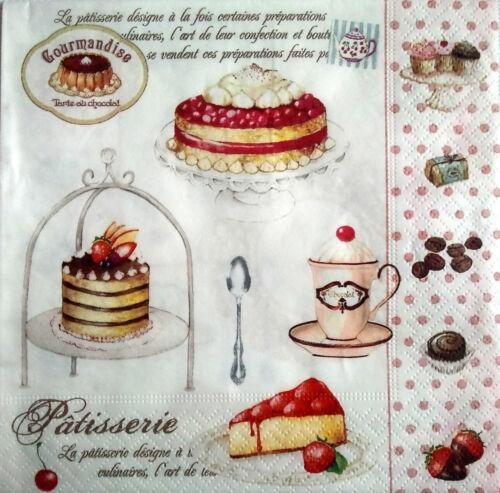 4 x single vintage table serviettes en papier pour découpage ou parti-pâtisserie