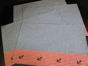 Red-and-Navy-Blue-Gingham-Nautical-Place-Mats-Cotton-Set-of-4