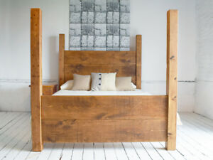 Image Is Loading Rustic Solid Wood 4 Poster Bed Double