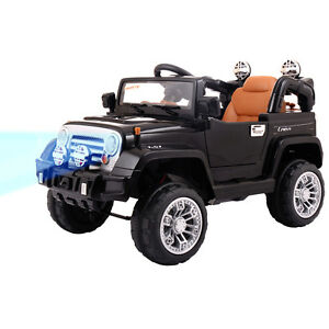 12V MP3 RC Battery Jeep Car Truck Kids Ride On W/ LED Lights Black