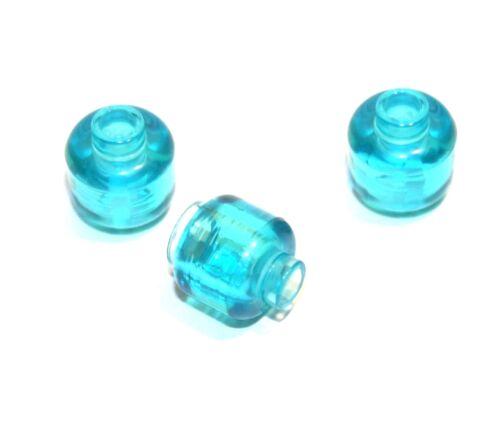 3x LEGO® Kopf unbedruckt 3626c NEU Hell Blau Transparent Figuren Zubehör