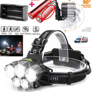 350000LM 5X T6 LED Headlamp Rechargeable Headlight 18650 Head Torch Flashlight