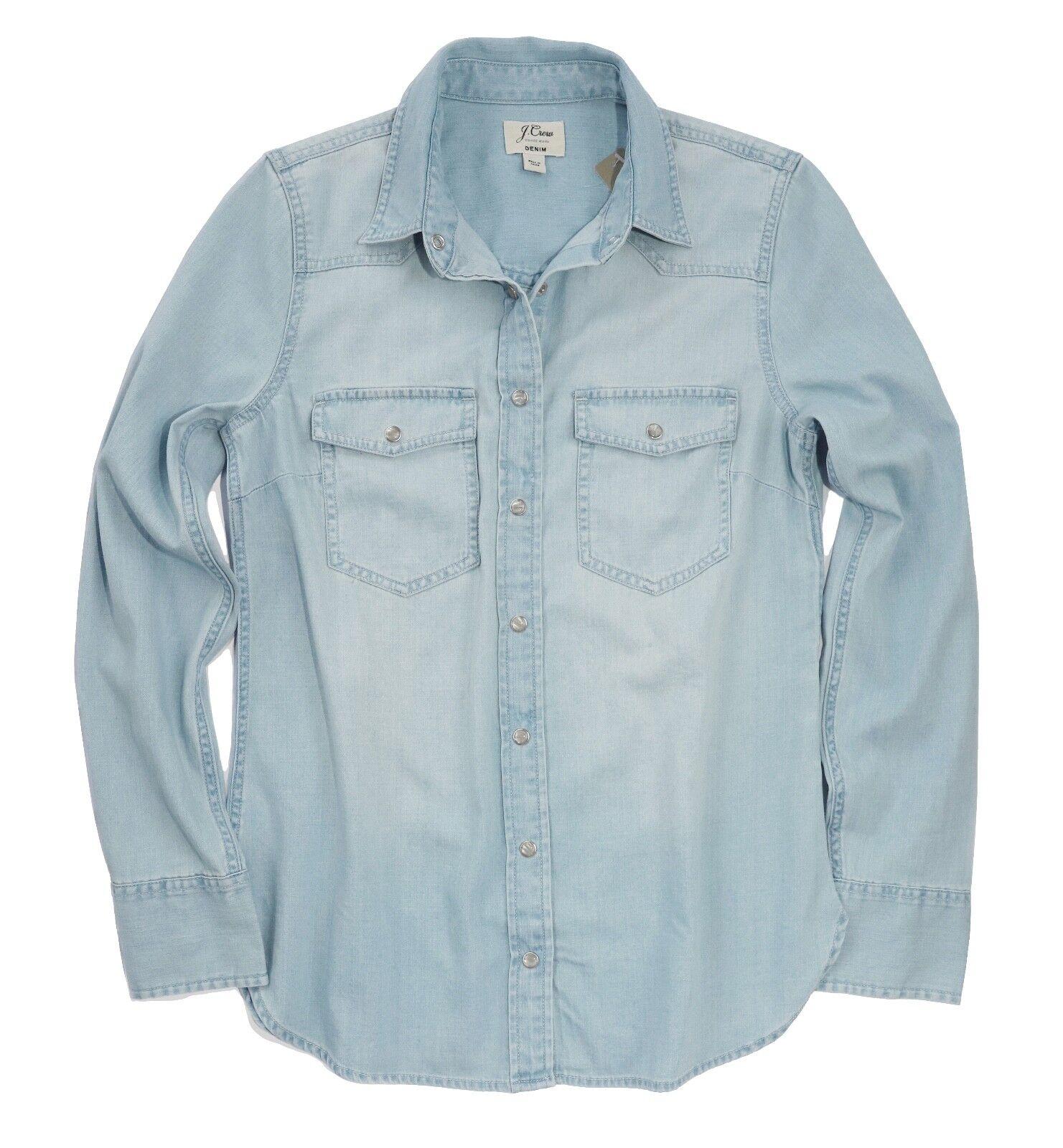 J.Crew Damen 10 - Nwt - Verblichen Blaue Perle Druckknopf Denim Western Hemd