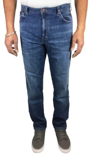 Wrangler Texas Stretch Jeans New Mens Regular Light Blue Bay Vintage Faded Denim