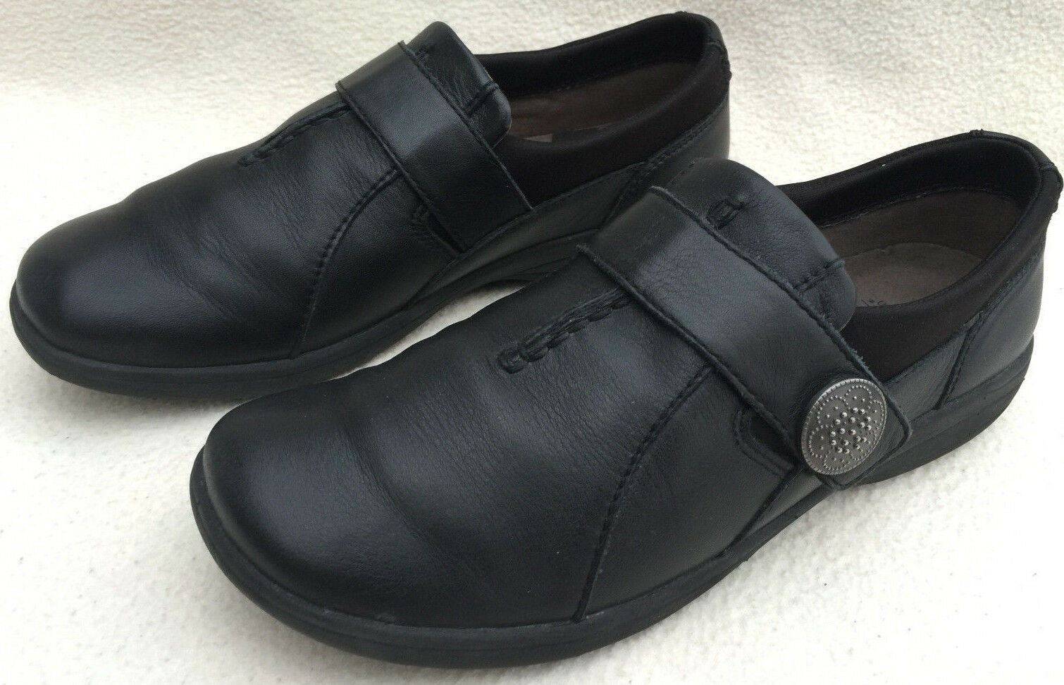 Abeo 3540 Smart System Black Leather Slip-On Walking Comfort Shoes Women's 6.5