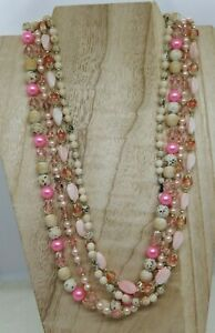 """Vintage 1950-60's Made in Japan Pastel Pink 4 Strand Necklace, 22"""" Box Clasp"""