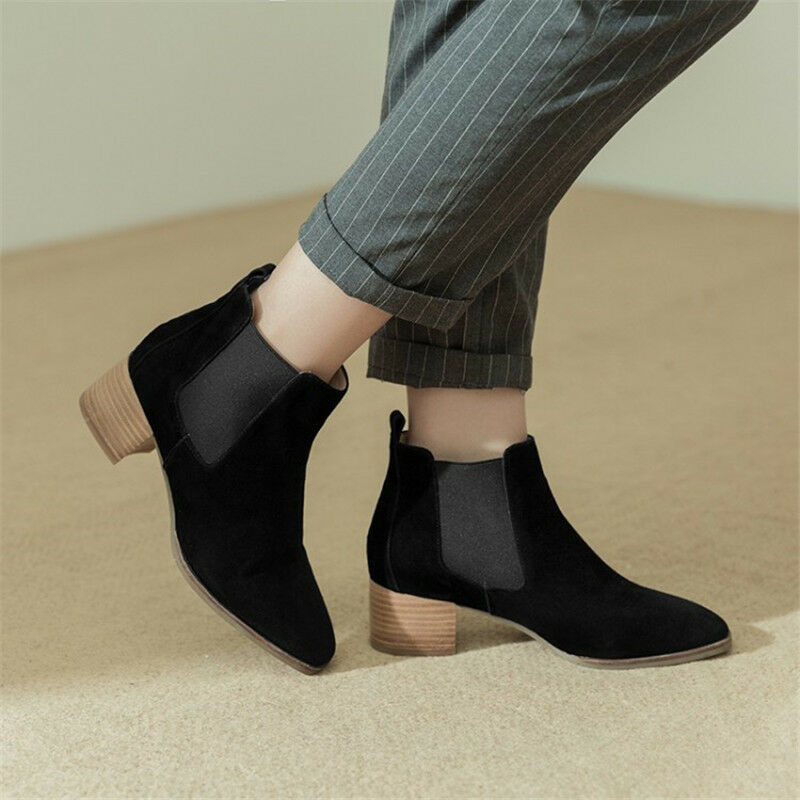 prezzo ragionevole donna Chelsea Pointed Pointed Pointed Toe Pull On Ankle stivali Chunky Block Mid Heel Suede Shoe  presa