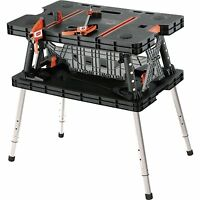 Folding Work Table Adjustable Sawhorse Bench Locking Portable Supports 750 Lbs