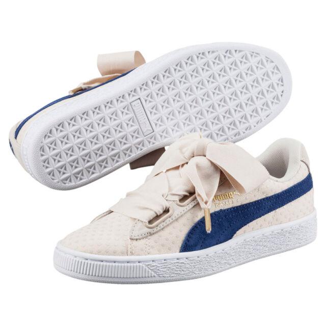 PUMA Basket Heart Denim Oatmeal Blue Women Classic Shoes SNEAKERS ... b91a4efa4