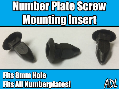 20x Black Plastic Number Plate Screw Mounting Insert Grommet Fits 8x8mm Hole