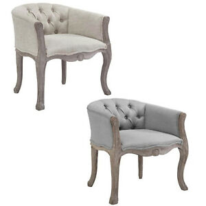 FRENCH-LOUIS-XVI-VINTAGE-STYLE-BUTTON-TUFTED-DINING-ACCENT-ARM-CHAIR-GRAY-BEIGE