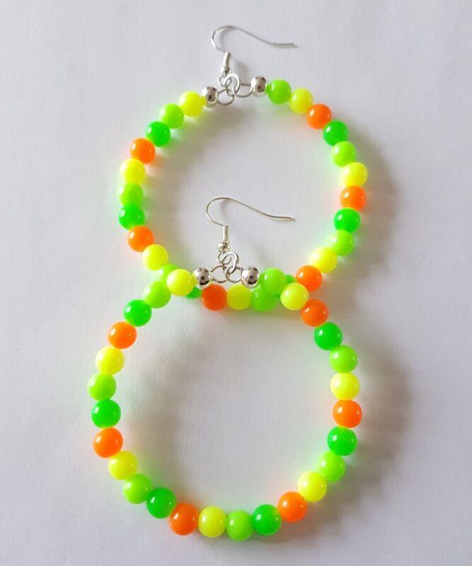 New Handmade 50mm Hoop Round Yellow Green Orange Colour Bright Beaded Earrings