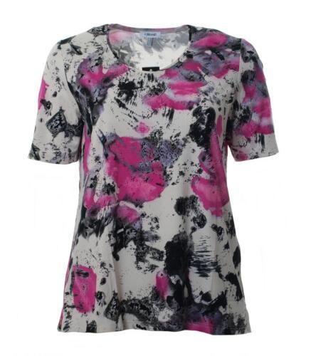 Femmes manches courtes T-shirt avec Batik Fleurs Grandes Tailles Rose Gris Stretch A-ligne