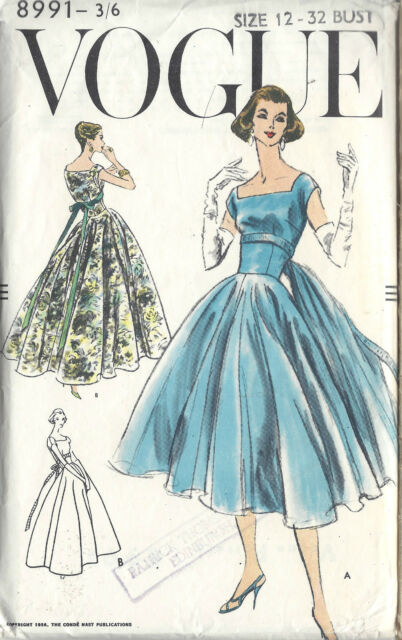 1956 Vintage Vogue-schnittmuster Kleid B32 \