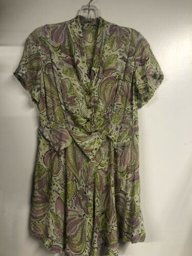 Vintage 1930's Floral  Lilac & Chartreuse Rayon To
