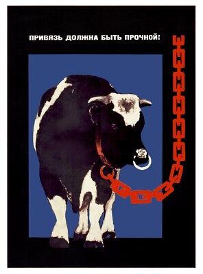 Leash must be strong Cow Farm Soviet Propaganda Poster Russian Farm USSR 1974