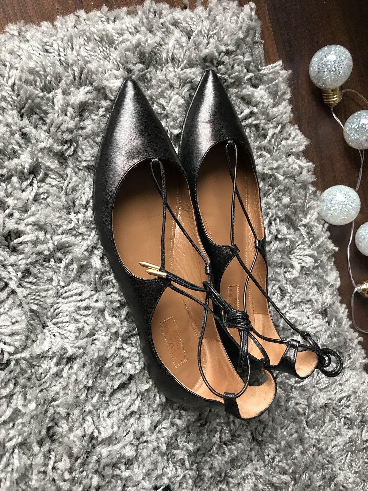 Aquazzura 10 mm Christy Lace-up Nappa Leather Flats Size 39 UK6