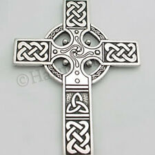 Extra Large CELTIC CROSS Detailed Pendant Necklace Celtic Knot Work bin in store