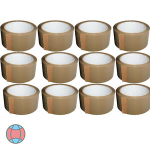 NEW-12X-BROWN-STRONG-PARCEL-ADHESIVE-TAPE-PACKAGING-CARTON-SEALING-48MM-X-66M