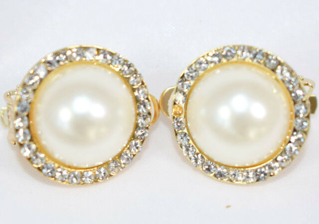 Earrings Round Pearl Rhinestone Design Clip On Studs Costume Jewellery E51512