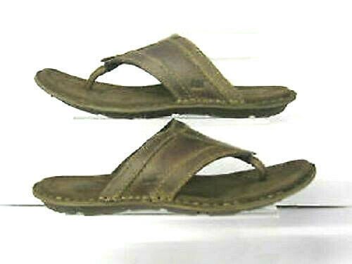 CATERPILLAR Galley 'Dolphin' Men's Brown Leather Slip On Toe Post Sandals