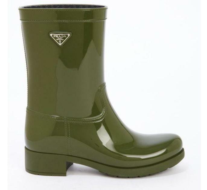 Prada Linea red Logo Sport Olive Green Green Green Rubber Rain Boot, Euro size 36 07c39e