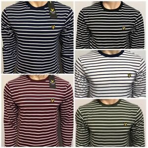 68fa5653cb Lyle & Scott Breton Stripe Crew Neck Long Sleeve T-Shirt for Men's ...
