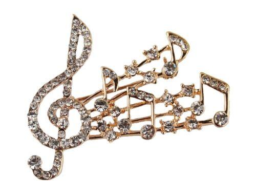 ORO Musica Nota Musicale Spilla Cristallo Diamante Treble Clef Sciarpa pin gioielli UK