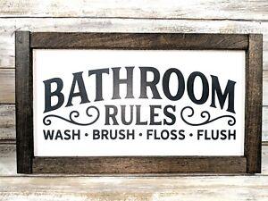 Framed Bathroom Rules Sign Bathroom Decor Wood Bathroom Sign Farm Sign Ebay