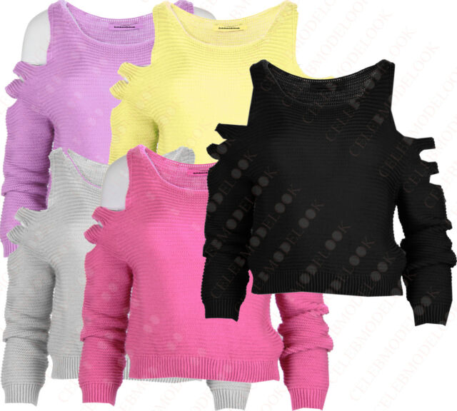 Y53 NEW WOMENS LADIES KNITTED CUT OUT LONG SLEEVES LOOSE CROCHET JUMPER TOP