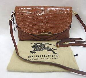 NEU-BURBERRY-PRORSUM-Crossbody-Alligator-Leder-Handtasche-Krokodil-Bag-Braun