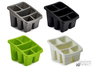 Black-Silver-Cream-Green-Plastic-Tidy-Caddy-Kitchen-Cutlery-Rack-Holder-Drainer