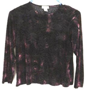 Laura-Ashley-Womens-Purple-Raised-Print-Blouse-Size-Large-Petite-Long-Sleeve