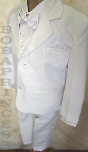 #228 NEW FORMAL BOYS' 5 PCS WHITE TUXEDO w/PAISLEY PATTERN SIZE S To 7 Suit SET
