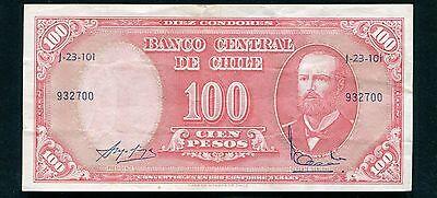 1961 100 Cien Pesos Banco Central De Chile Banknote Ebay