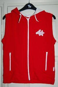 New S Animal Sleeveless Red & White Hoodie Sweat Shirt Style Top