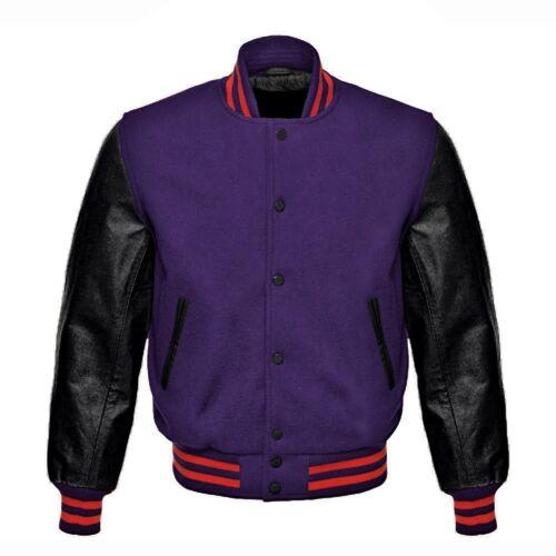 manches pourpres en laine Letterman de véritable avec Vestes de laine en bombardier noir violette cuir g4zRwTq