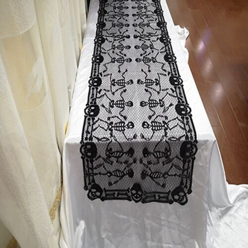 Halloween Skull Fabric Table Runner Tableware Party Buffet T