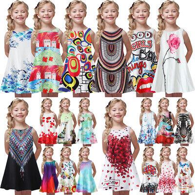 Summer Toddler Intant Kids Bady Girl Sling Letter Print Princess Casual Dress