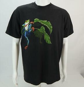 Vintage-Hanes-Homme-Ken-Drewke-Manches-Courtes-Frog-T-Shirt-Imprime-Noir-Large