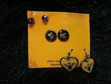 new 3 vampire bat Bite me stud earrings edgy fashion jewelry Halloween Wicca