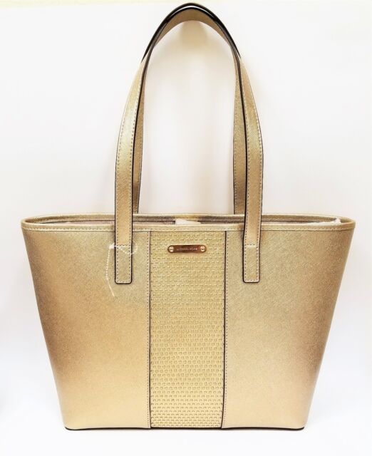 b1685feaae6f Michael Kors Microstud Center Stripe Pale Gold Saffiano Leather Tote/handbag