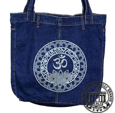 S08. MANDALA GOA LOTUSJeans Denim Shopping Bag Marionelli Tasche / Stofftasche