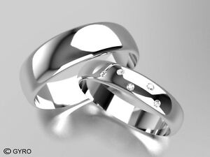 White Gold Diamond Set Band His and Hers set of Wedding Rings 6